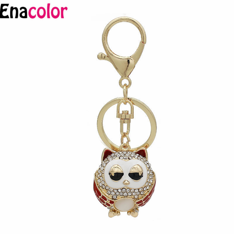 Jewelry & Accessories New Arrival Cute Owl Keyrings Crystal Enamel Pig Keychain For Women Purse Bag Pendant Birthday Gift Key Chains Holder Chaveiro