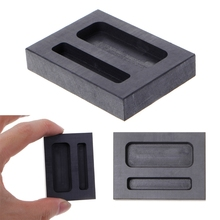 Graphite Crucible Ingot Mold Two Hole Silver Loaf Bar Metal Melting Casting Tool new 230oz 100x30x30mm graphite crucible mould for melting metal ingot refining scrap deep jewelry tool