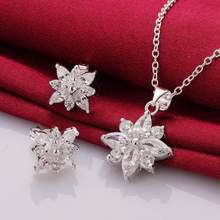 925 sterling silver jewelry 925-sterling-silver fashion jewelry Crystal snowflake necklace&earrings jewelry sets for women SS749(China)