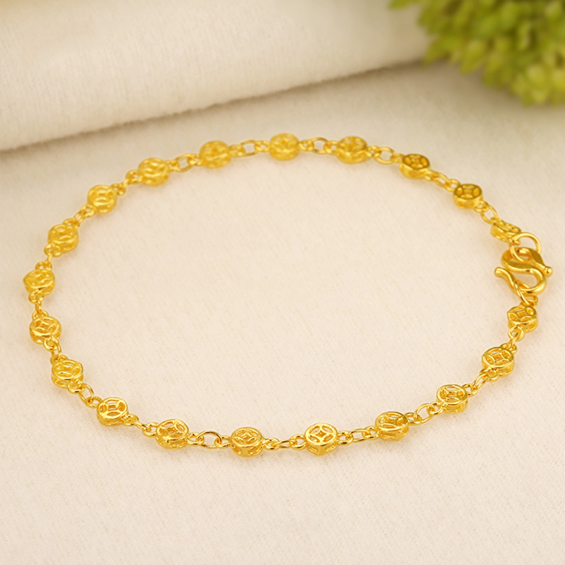 JLZB 24K Pure Gold Bracelet Real 999 Solid Gold Bangle Copper Money Smart Elegant Trendy Classic Fine Jewelry Hot Sell New 2019