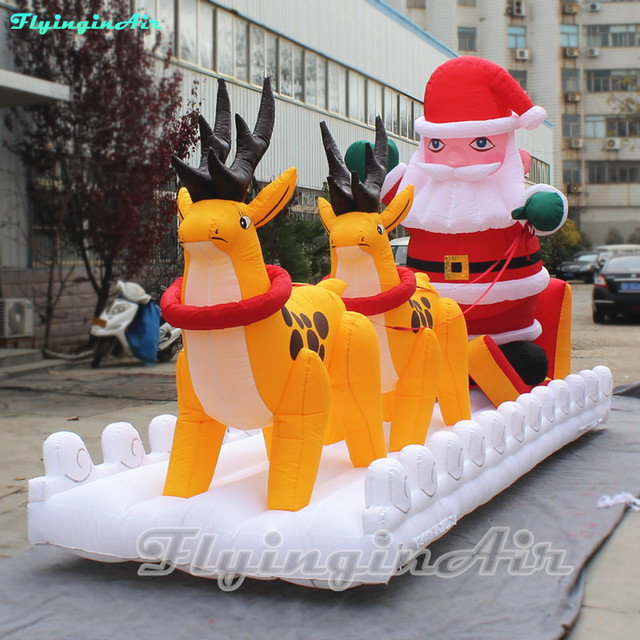 6m Christmas Display Inflatable Santa Claus Driving Inflatable Reindeer  Sleigh