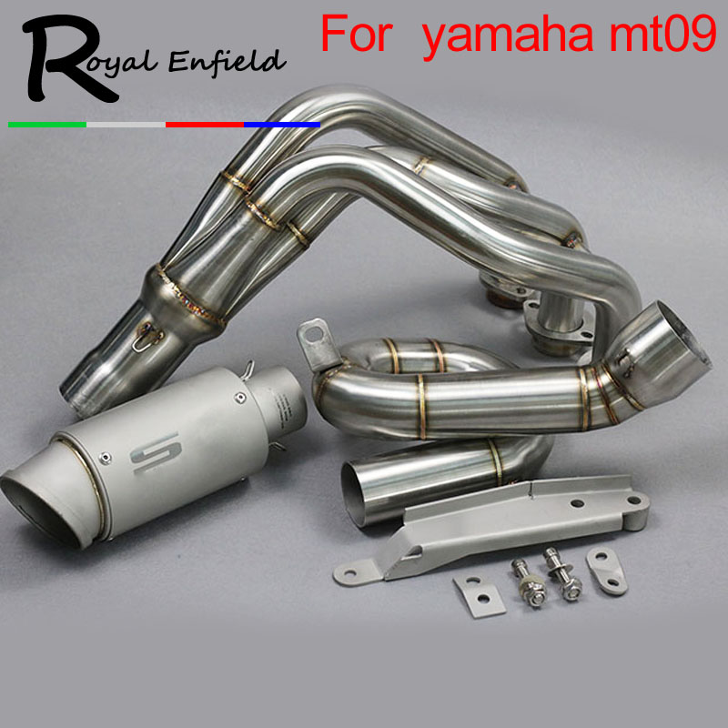 Motorcycle Exhaust Scooter-Clamp Front-Pipe MT09 Muffler-Modified Slip-On Yamaha