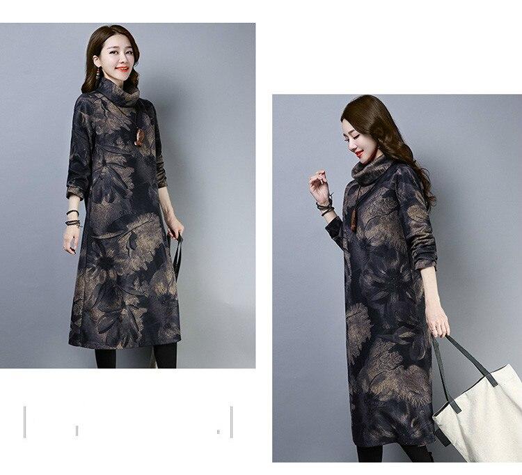 2019 New Women Spring Autumn Dresses Turtleneck Printed Female Long Sleeve Vintage Robe Dress Vestido 67