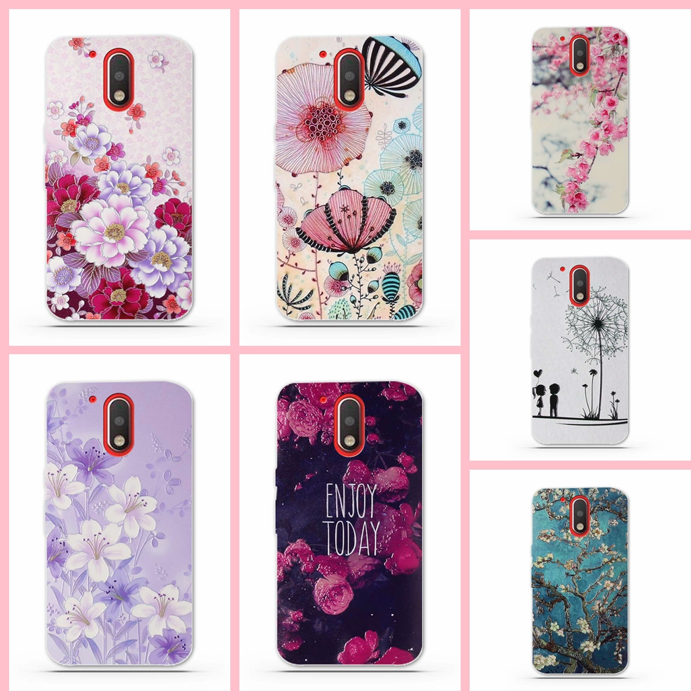 Galleria fotografica For Moto G4 Case Luxury 3D Relief Painting Soft Silicon TPU Back Cover Case for Motorola Moto G4 Plus Cover Phone Cases Coque