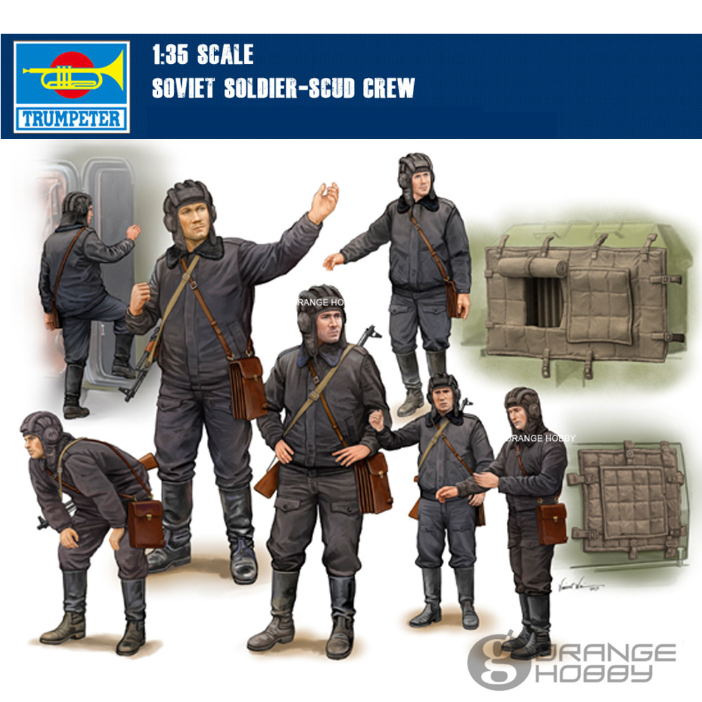 OHS Trumpeter 00434 1/35 Soviet Soldier SCUD Crew Assembly Military figures Model Building Kits spot model 05546 trumpeter 1 35 soviet t 10m heavy tanks