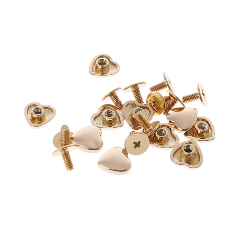 10Pcs Heart Shape Accessories Handbag Shoulder Bags Bottom Studs Rivets Screw