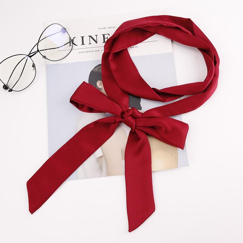 Fashion Women Neckerchief Solid Soft Smooth Chiffon Wrist Bowknot Headband Lady Neck Head Long Thin Bandana Skinny Scarf Wrap