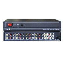 220v 2 in 8 out AV RCA Video Audio Splitter Selector