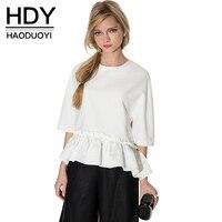 Haoduoyi 2016 Summer New Women Elegant Ruffle Tee Shirt Asymmetric Top Summer Draped Ladies Blouse