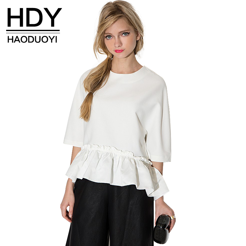 HDY Haoduoyi Solid O Neck Half Hals Ruffle Blouse Casual Kort Elegant Draped High Low Shirt Sweet Preppy Style Lösa Toppar