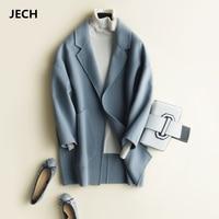 JECH зима осень длинные Для женщин кашемир Винтаж плащ короткие пальто с большими карманами куртки женские Повседневное v образным вырезом те