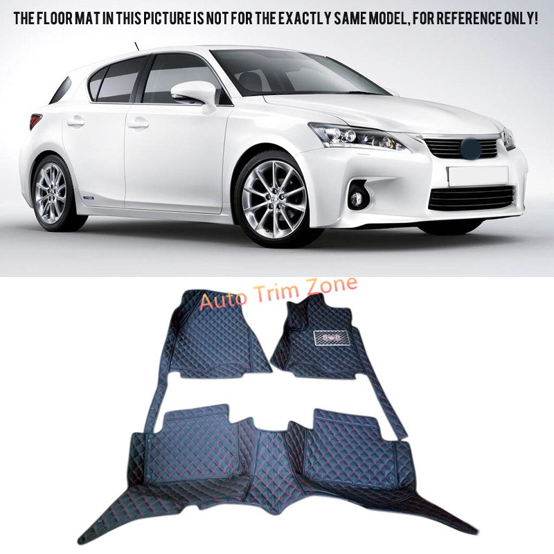 Black Interior Leather Floor Mats & Carpets Foot Pads Protector For Lexus CT 200h 2011-2015 A10