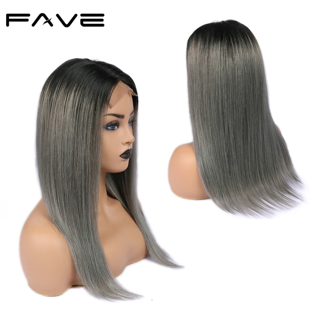 FAVE 4*4 Lace Closure Ombre Wigs 1B/Grey Brazilian Remy Straight Hair Wig 150% Density Pre Plucked Natural Hairline Lace Wigs