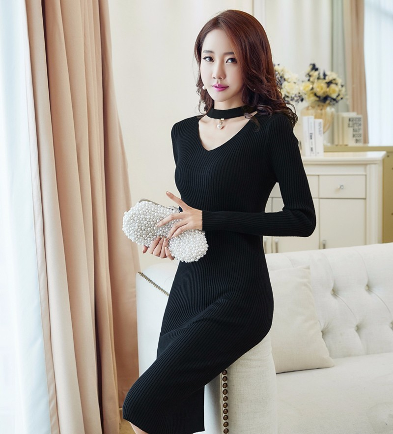 Elegant Halter V Neck Sexy Knitting Office Sweater Dress Women Elastic Soft Black Autumn Winter Dress Bodycon Long Sleeve Dress