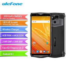 Ulefone Power 5 Mobile Phone 6.0inch 6GB RAM 64GB ROM MTK6763 Octa Core Android 8.1 Camera 21MP+5MP 13000mAh Face ID Smartphone