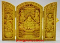 DECORATED BOXWOOD HIGHLY DIFFICULTY CARVED FLODING BOX MAITREYA BUDDHA