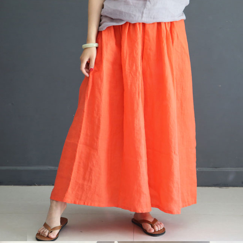 Johnature Women Summer Casual   Pants   2018 New Linen Thin Breathable Comfortably Soft Solid Loose Vintage   Wide     Leg     Pants