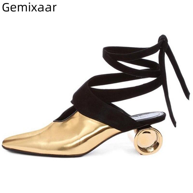 Chaussures en cuir doré femme bout carré étrange talon haut chaussures de marche bout pointu noir croix à lacets confortable semelle intérieure femme sandales