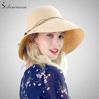 ماركة 2018 الأزياء قبعات للنساء السيدات عطلة الصيف الشاطئ الحب القش الرافية قبعة عالية الجودة الكروشيه القبعات SW105112