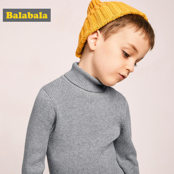 Balabala Toddler Boy Rib Knit Roll-up Turtleneck Sweater Children Kids Boy Cotton Blend Ribbed Turtleneck Sweater for Winter