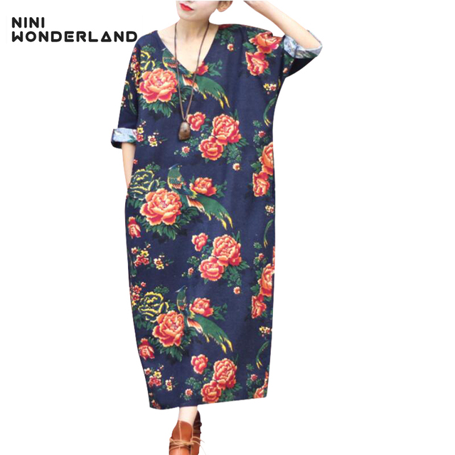 e6b6f643b NINI WONDERLAND Spring autumn women classic print cotton linen nation style  dresses V-neck printed casual dress Vintage clothes