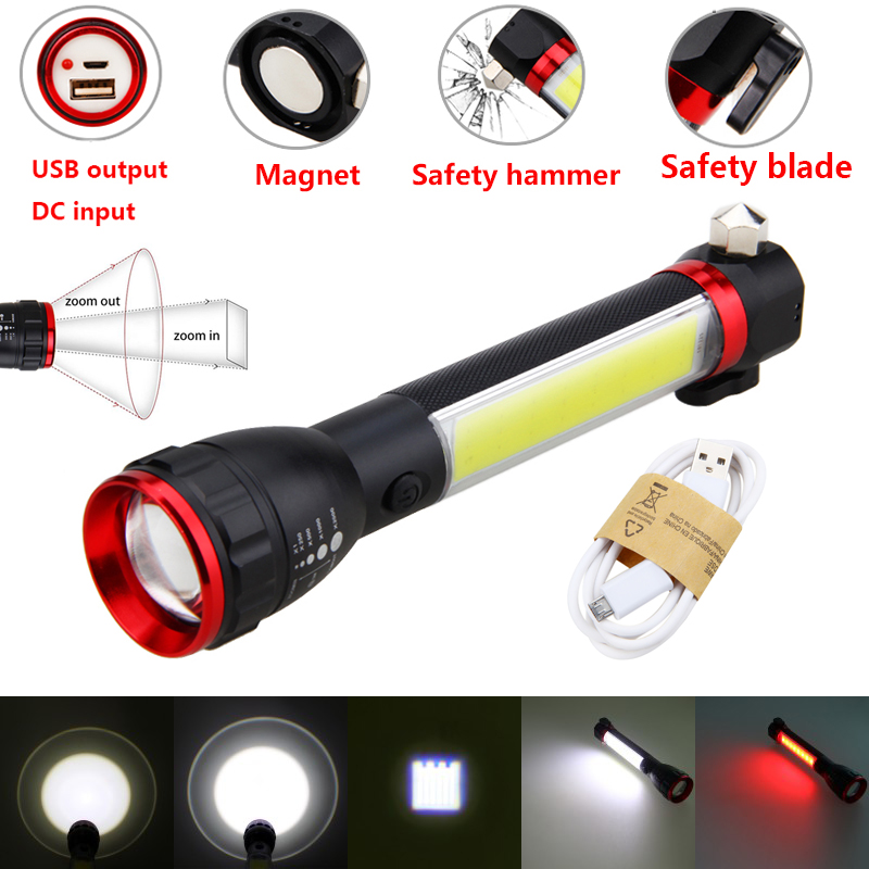 Multifunctional Flashlight Zoomable USB Rechargeable Light Handle Work Inspection Torch Portable Worklight with Built-in Battery