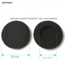 KEITHNICO 10Pcs 60mm Soft Foam Earbud Headphone Ear pads Replacement Sponge Covers For Headphone MP3 MP4 Size Of 6-6.5CM Headset