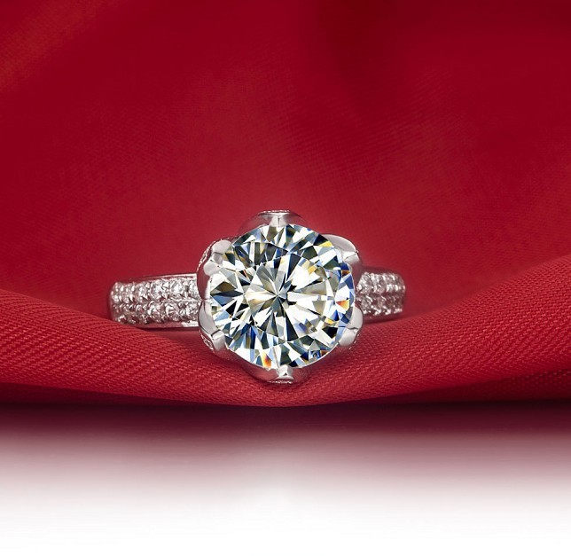 3a893c976 Vintage 3 Carat Lotus Flower Shape SONA Synthetic Diamonds Engagement Ring  Genuine Sterling Silver Never Fade-in Engagement Rings from Jewelry &  Accessories ...
