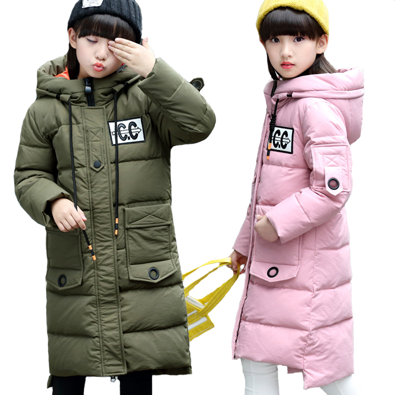 Winter Down Jacket Girl 2018 New Girls Down Coat Winter Children Clothing Hooded Outerwear Girl Jacket Kids Clothes 5-14Y winter down jacket children s sets girl clothing white new year a lively girl dressed down jacket in park happy to play