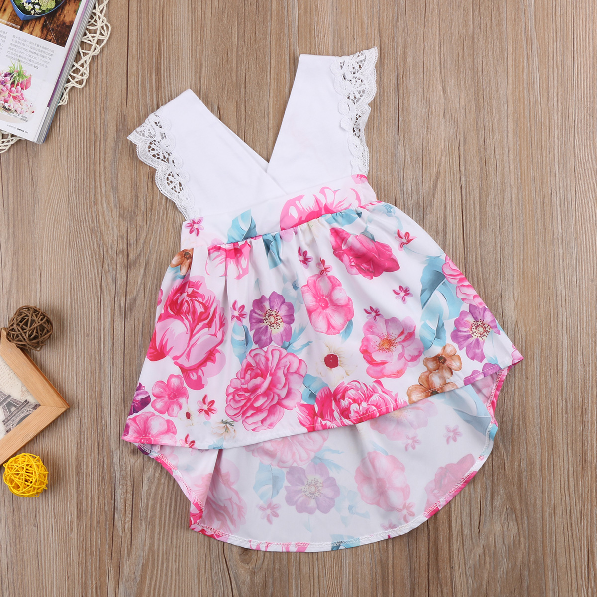 1ea51f0221d5 Lace Flower Baby Kids Girls Outfits Little Big Sister Matching Rompers Tutu  Dresses Summer V necK Girls Clothes-in Matching Family Outfits from Mother  ...