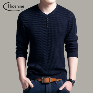 Image 2 - Thoshine Brand Spring Autumn Style Men Knitted Twill Sweater Thin V Neck Buttons Male Casual Pullovers Solid Color Homme Jumpers