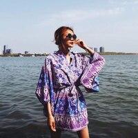 2018 New Beach Boho Short Kimono Tops Bohemian Floral Print Women Cardigans Long Blouse Casual Wrap with Belt Summer Shirt Blusa