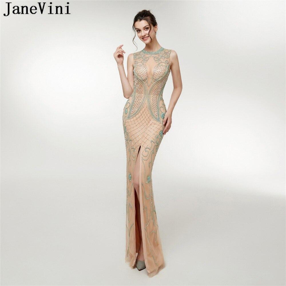 JaneVini Luxury Beaded Long Mermaid   Bridesmaid     Dresses   Floor Length Sexy High Split Illusion Tulle Dubai Formal Prom Party Gowns