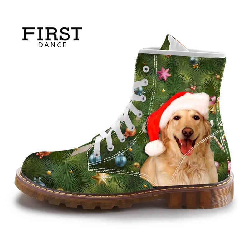 где купить FIRST DANCE Christmas Dog Print Women Martins Shoes Spring Green Fashion Female Shoes Ladies Custom Animal Print Martin Shoes по лучшей цене