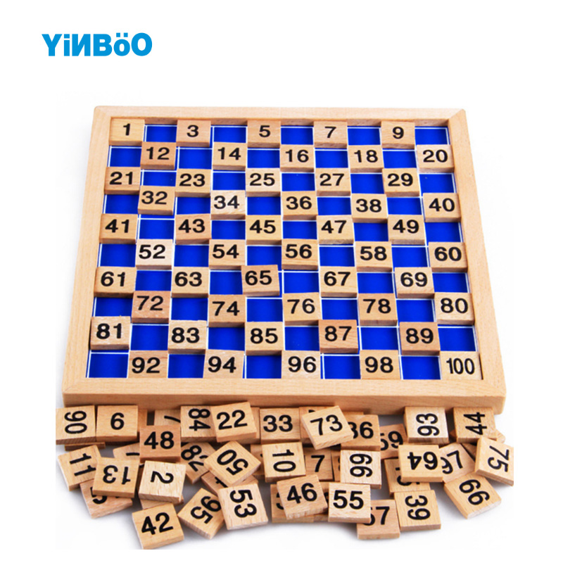 Montessori 100 Hundred Board 20 cm* 20 cm Early Childhood Education Preschool Training Kids Wooden Toys abacus