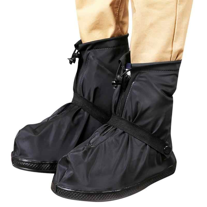 1Pair 2019 New Reusable Shoe Cover PVC Unisex Non-Slip Wear-resistant Rainboots Waterproof Shoe Cover Mid-tube