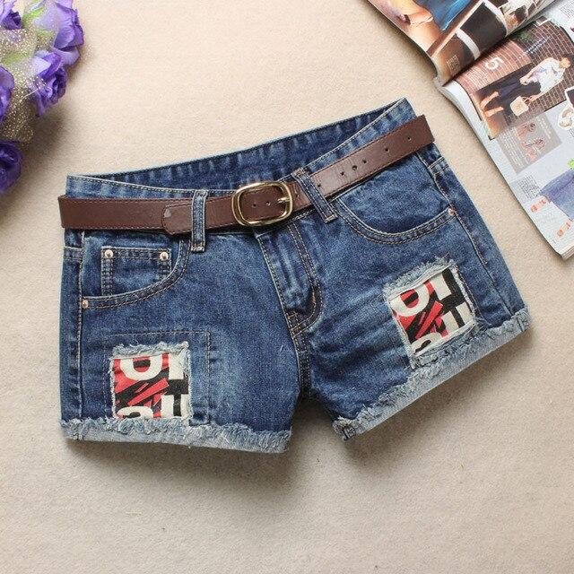 Summer jean Shorts Women Hip hop Denim Shorts Patch Hole Shorts Without Belt