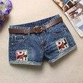 Verano Pantalones Cortos de jean de Las Mujeres Hip hop Pantalones Cortos de Mezclilla Agujero Parche Pantalones Cortos Sin Cinturón