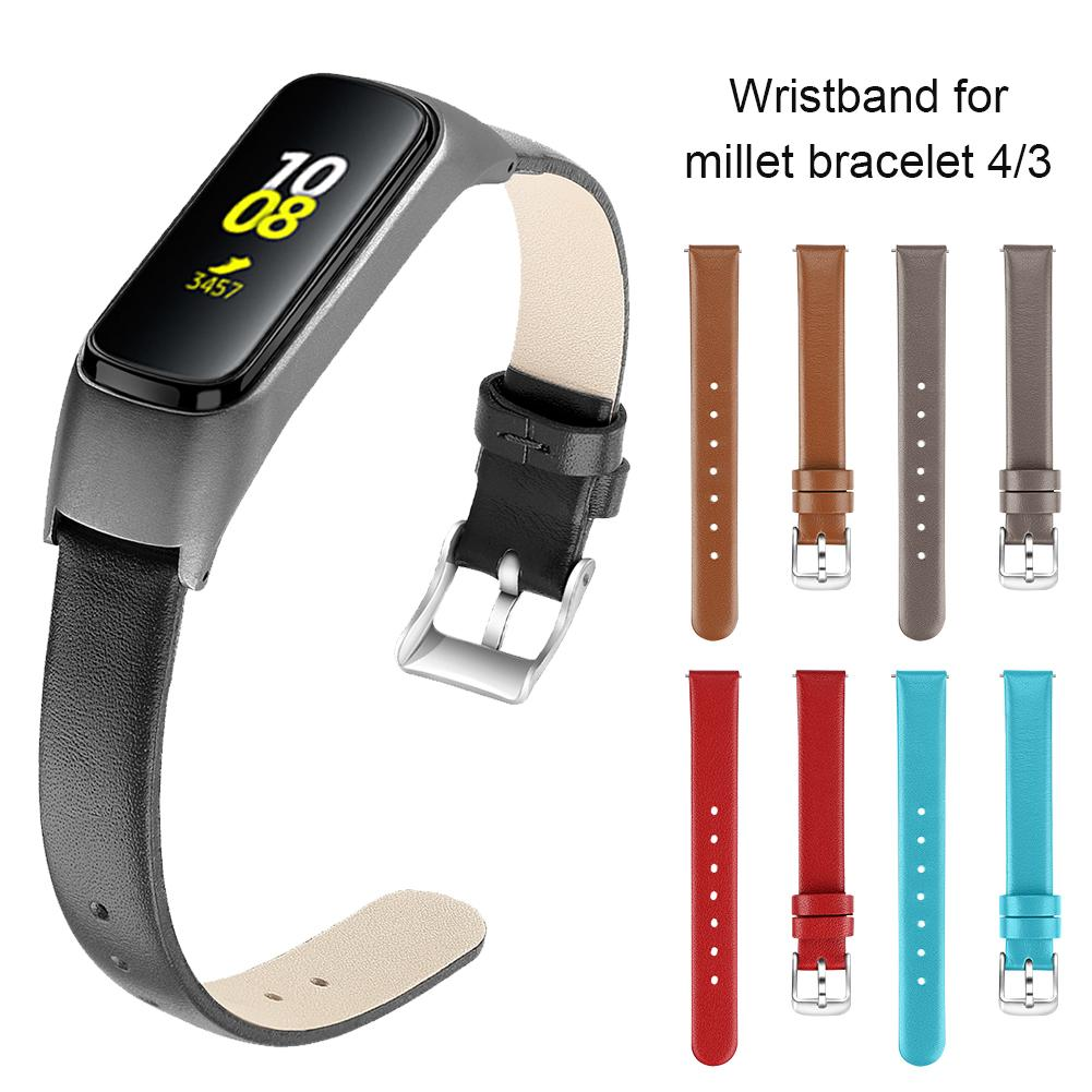 High-quality Wristband Leather Strap Metal Case Cover Replacement Strap Wristband Watch Band Accessories For Xiaomi Mi Band 3 4