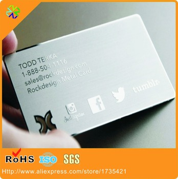 Silver Brushed Style Mirror Business PVC Card with Metal Polished Effect