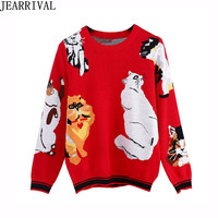 Runway Deisgner Cats Pattern Sweater 2018 Autumn Winter Women's Long Sleeve Print Casual Pullover Knitted Jumper Pull Femme