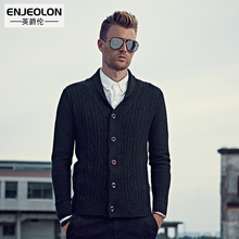 Enjeolon brand Autumn Winter Sweater Men slim fit Turn-Down Collar Knitted Cardigan button solid Black Sweater Knitwear fit coat