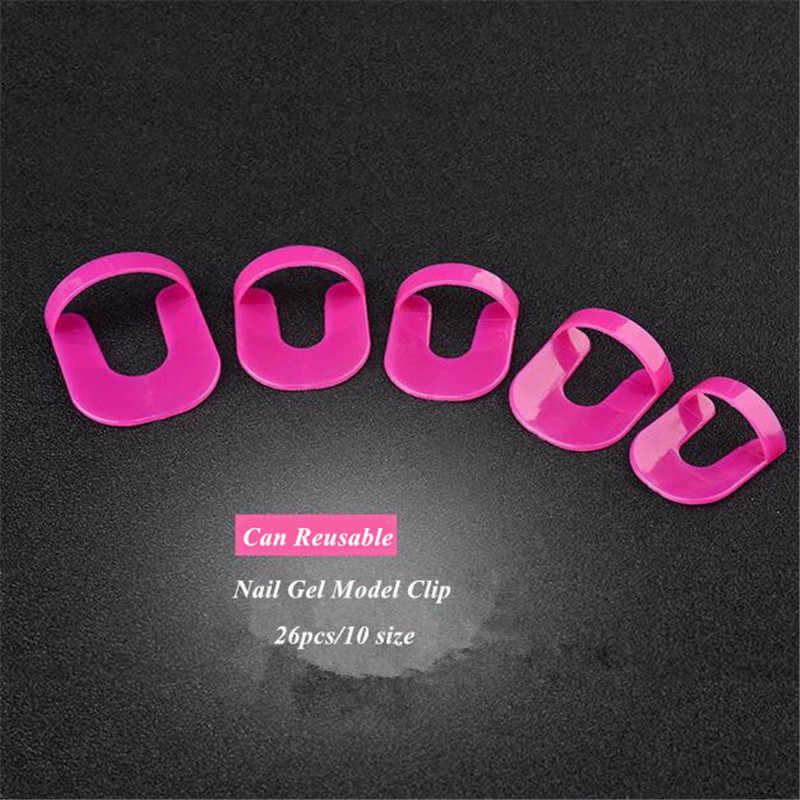 26 Pcs/pack Nail Art Gel Model Klip Manicure Nail Ujung Lem Overflow Mencegah Alat Portabel Nail Polish Lem DIY Peralatan
