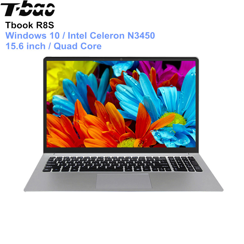 English Version T-bao Tbook R8S Laptop 15.6'' Windows 10 Intel Celeron N3450 Quad Core PC 1.1GHz 6GB 128GB HDMI Notebook