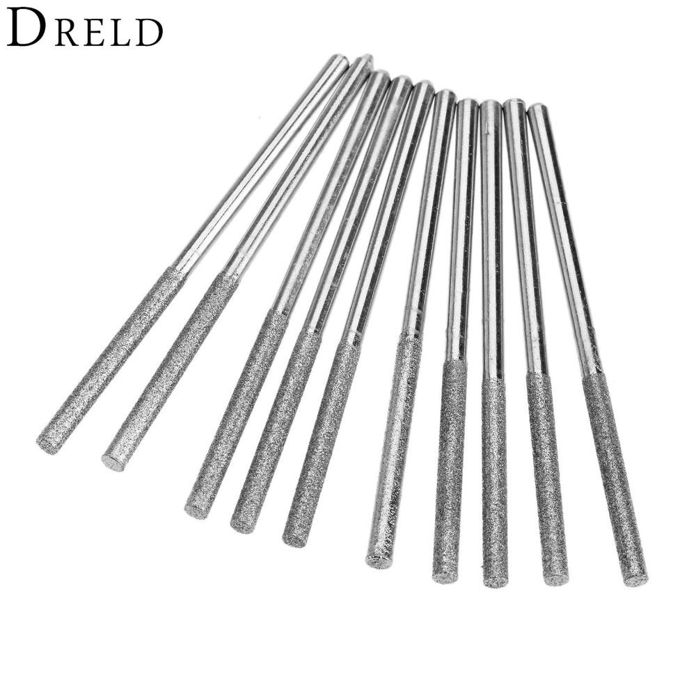 10Pcs Diamond Burs Mini Drill Dreme Accessories Drill Brush Set Power Tools Diamond Polishing Abrasive Grinding Head 3mm Shank