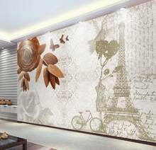 Home Decoration 3D Wallpaper Painting vintage Eiffel Tower Bedroom Wallpaper non-woven wall covering papel de parede(China)
