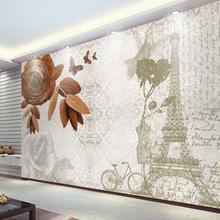 Papel pintado 3D decoración del hogar pintura vintage Torre Eiffel dormitorio papel pintado revestimiento de paredes no tejido papel de pared