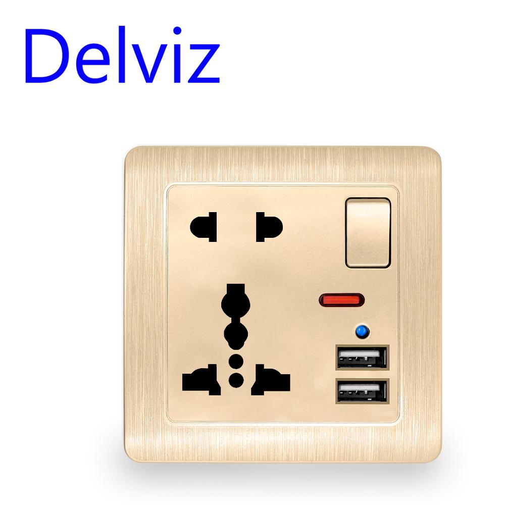 Wall Power Usb Socket Switch Control With Light 110~250V Gold/White International Universal Panel 13A Universal Five Hole Socket