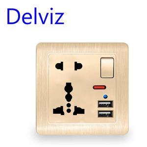 Wall power usb socket Switch control With light 110~250V Gold/White International universal panel 13A universal five hole socket(China)
