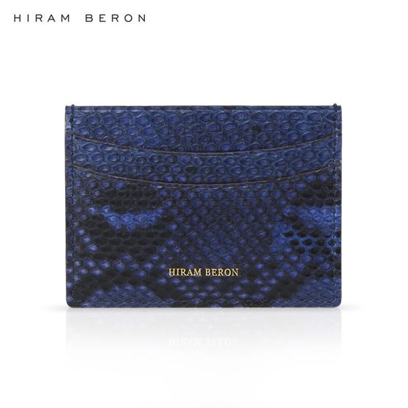Hiram Beron CUSTOM NAME FREE card case mens royal blue snakeskin luxury gift with box small leather card holder